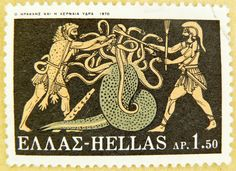 stamp Greece Heracles (Hercules) and Iolaos Hydra