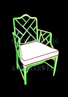 Classic Palm Beach style green bamboo Chippendale chair would look great in your Singer Island condo or home.