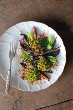 Spiced Romanesco cauliflower & okra salad - to make vegan omit honey and use a vegan sweetener of choice.