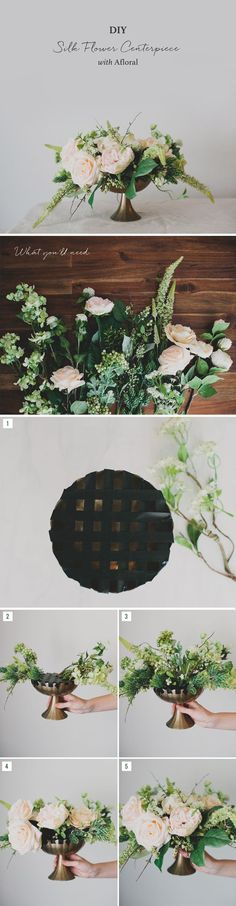 Create your own faux flower centerpiece with this easy DIY by Green Wedding Shoes.