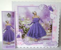 Card Gallery - 1950's Purple Ruffles and Lace Mini Kit with Bookmark