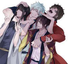 Katsura, Gintoki, Takasugi and Tatsuma All Anime, Anime Guys, Anime Art, Gintama, Crying My Eyes Out, Okikagu, Silver Samurai, Kageyama, Anime Characters