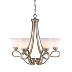 "Golden Lighting 8107-6 Torbellino 6 Light 1 Tier 27"" Wide Chandelier White Gold Indoor Lighting Chandeliers"