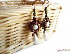 MK earrings with a pendant, weaving beads. - Fair Masters - handmade, handmade