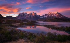 nature, Landscape, Mountain, Lake, Sunrise, Shrubs, Snowy Peak, Clouds, Torres Del Paine, Chile, Patagonia HD Wallpaper Desktop Background