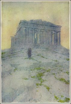 Robert Hichens, The Near East : Dalmatia, Greece and Constantinople, The Parthenon, illustrated by Jules Guerin, 1913 Athens Acropolis, Parthenon, Photo Art, Book Art, Antiquities, History, Architecture, Painting, Architectural Drawings