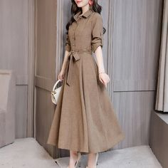 Solid Long Sleeves A-line Midi Casual Dresses Source by Dresses casual Multiway Bridesmaid Dress, Dress Outfits, Fashion Dresses, Dress Shoes, Midi Dresses Online, Dress Online, Vestidos Vintage, Mode Hijab, Long Sleeve Shirt Dress