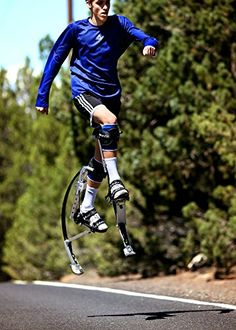Jump higher, run faster, be the super hero you�ve always wanted to be with these carbon fiber jumping stilts