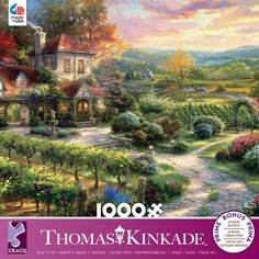 This Ceaco Puzzle features a Thomas Kinkade House and vineyard. x puzzle size when completed. Made in the USA Gender: unisex. Thomas Kinkade Puzzles, Thomas Kinkade Art, Kinkade Paintings, Art Paintings, Thomas Kincaid, Art Thomas, Anime Scenery, Wine Country, Beautiful Landscapes