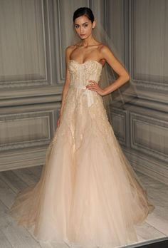 Love this new trend of blush wedding dresses! #wedding #dress #weddingdress #blush #taupe #beige #lightpink #pink #veil