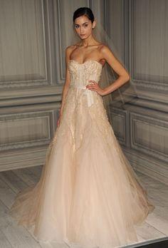 Love this new trend of blush wedding dresses! #wedding #dress #weddingdress #blush #taupe #beige #lightpink #pink #veil