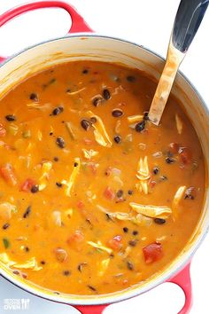 Gimme Some Oven | 20-Minute Cheesy Chicken Enchilada Soup | http://www.gimmesomeoven.com