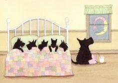 Scottish terrier (scottie) family ready for bed / Lynch signed folk art print. $12.99, via Etsy.