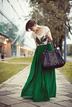 Green silk maxi, printed tee, studded bag. I used to draw this exact thing when I was 10.