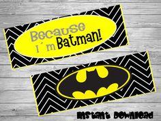 Batman bag toppers- DIY birthday bags - Batman Birthday Labels - Batman Party Decoration- Printable Batman topper- Batman printables by Chumelito on Etsy