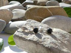 Dormeuses en obsidienne noire, bijoux chics, boucles d'oreilles obsidienne noire, boucles protection obsidienne : Boucles d'oreille par lapassiondisabelle