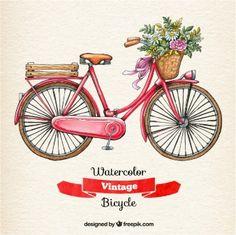 Aguarela da bicicleta do vintage