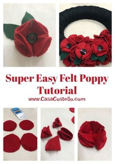 Super Easy Felt Poppy Tutorial - No fuss tutorial. These poppies can be used as part of a wreath or made into brooches Step-by-step tutorial to make Super Easy Felt Poppies. Can be used for on a wreath or as a Poppy Brooch. Felt Wreath, Wreath Crafts, Flower Crafts, Felt Flower Wreaths, Easter Wreaths, Felt Flowers Patterns, Fabric Flowers, Diy Flowers, Zipper Flowers