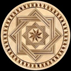 The GEOMETRICA Collection of hardwood floor medallion inlays. Manufactured by Pavex Parquet. Islamic Art Pattern, Pattern Art, Wooden Art, Wood Wall Art, Indoor Crafts, Wooden Pattern, 3d Cnc, Reclaimed Wood Art, Hardwood Floors