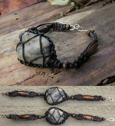 Unisex Handmade Reversible Black and Brown Macrame Bracelet with Wrapped River Stone