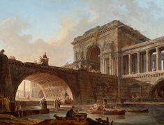 Hubert Robert – The Bowes Museum B.M.264. Architectural Caprice with Bridge and Triumphal Arch (c. 1768) | elsewhere