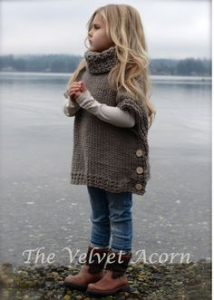 crochet poncho kids Welcome to The Velvet Acorn, here you will find purely original pattern designs in knit and crochet. Inspired and crafted with my love of nature and the outdoors Knitting For Kids, Knitting Projects, Baby Knitting, Crochet Projects, Poncho For Kids, Girls Poncho, Crochet Ideas, Knitting Sweaters, Knitting Ideas