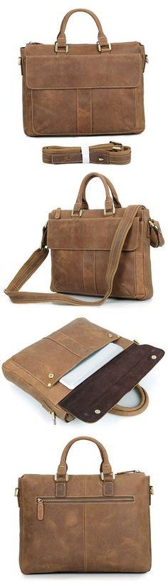 """Vintage Handmade Crazy Horse Leather Briefcase / Messenger / 14"""" 15"""" Laptop 13"""" 15"""" MacBook Bag"""