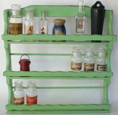 Vintage Spice Rack Apothecary Bottle Curio Display Shelf Shelves Cabinet Chest Wood Wooden Cottage Lodge Cabin Primitive Jadeite Green