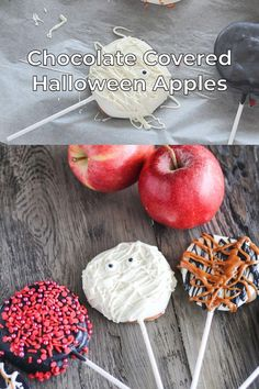 Easy Halloween Chocolate Covered Apple Slices are a really festive treat - perfect for Fall! You can make them simple with drizzled chocolate and caramel or get creative and make them into fun, Halloween treats! Adults and kids alike will enjoy these apple slices in a bite or two. Learn how in this easy tutorial.
