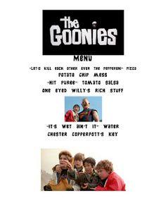 Reel Fancy Dinners: The Goonies Dinner dinner theme Movie Night Snacks, Movie Night Party, Movie Nights, Dinner Themes, Dinner Menu, Dinner Recipes, Family Movie Night, Family Movies, Disney Dinner