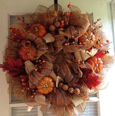 Fall Mesh Wreath with Pumpkins on Etsy, $100.00