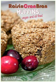 Helyn's Healthy Kitchen: Raisin-Cran-Bran Muffins… date-sweetened, vegan an...