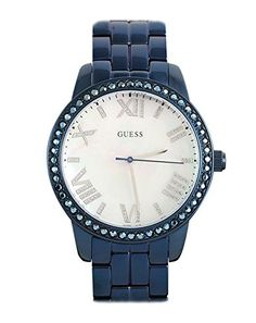 Women's Wrist Watches - GUESS W0444L4 BlueTone MotherofPearl Dial Glits Womens Watch -- More info could be found at the image url.