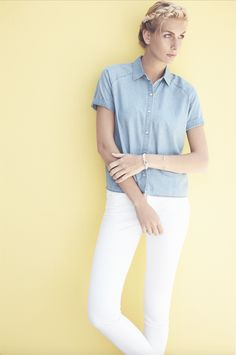 White denim, a chambray shirt, and a romantic braid.  Perfect for a last-minute day trip or picnic in the park.