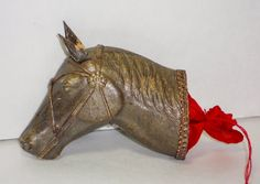 RARE Vintage Dresden Horse Head Candy Container, Christmas by VintageMaryEllen on Etsy https://www.etsy.com/listing/260604100/rare-vintage-dresden-horse-head-candy