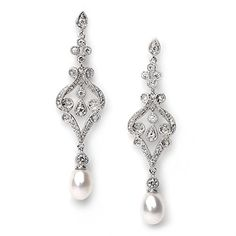 USABride Bridal Earrings, Silver plated Vintage Chandelier Earrings with Freshwater Pearl Drop 685 -- Click image for more details.