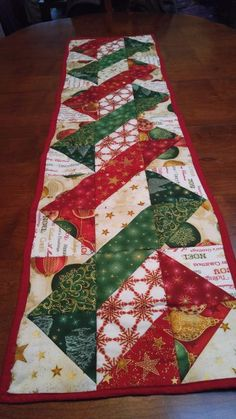 Holiday table runner – Here a Stitch, There a Stitch -