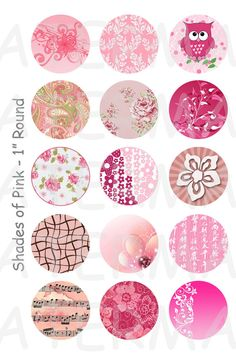 Shades of Pink - 4 x 6 Digital Collage Sheet  - 1 inch Round Circles - INSTANT DOWNLOAD