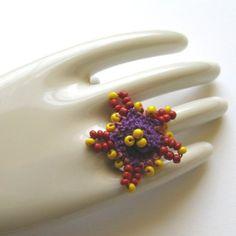 Firecracker Ring in Beaded Crochet