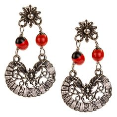 JJ Caprices - Sterling Silver Filigree Drop Earrings with Tropical Seeds