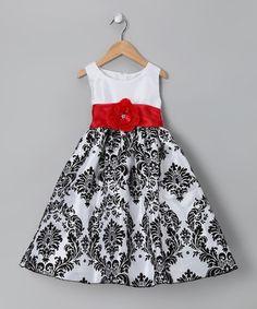 White & Red Damask Taffeta Dress - Infant, Toddler & Girls