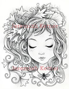 Honey Bee Digital Coloring page by smallandround on Etsy