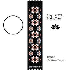 peyote ring pattern,PDF-Download, Ring SpringTime #277R, 2 variants, peyote, beading pattern, beading tutorials, ring pattern