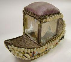 Victorian Shell Art Gondola Boat Pincushion Box