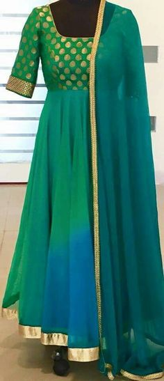 Green georgette Anarakali with brocade yolk