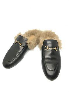 dc935a5eb Pre-owned Gucci Princetown Fur Black Slipper Slides Size 38