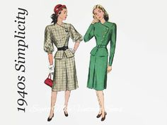 Vintage 1940s Simplicity 1770 Sewing Pattern - Women's Two Piece Asymmetrical Dress Peplum Jacket and Slim Skirt - Size 14 - Bust 32 Hip 35 by EightMileVintageSews on Etsy