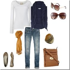 Comfy and adorable outfit!!!   <3 the blue & gold & distressed accents!