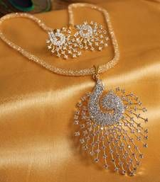 Buy GORGEOUS ROYAL CZ PEACOCK PENDANT SET WITH ZIRCON STONES FILLED CHAIN necklace-set online
