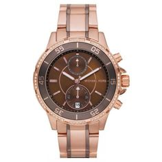 Purchase your must have Michael Kors Chronograph Two tone rose gold stainless steel Watch from Tic Watches. Our range of Michael Kors designer watches come with a 2 year Tic Watches Warranty. Michael Kors Designer, Michael Kors Rose, Michael Kors Watch, Glamour, Quartz Watch, Gold Watch, Mk Watch, Chronograph, Watches For Men